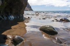 Black sand volcanic beach. Tenerife Island Stock Images