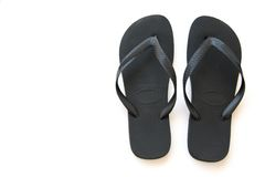 Black Sandals. Black beach sandals Royalty Free Stock Photo