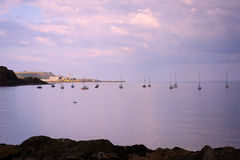 A view from Black Sands beach, Aberdour, Scotland. Black Sands beach, Aberdour, Scotland. Aberdour has two beaches - the Silver Sands, and the Black Sands.The stock photo