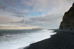 Black sands beach of Vik in Iceland Stock Photo