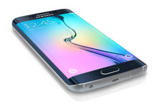 Black Sapphire Samsung Galaxy S6 Edge. Samsung Galaxy S6 Edge is the first device with dual-curved glass display. Galaxy S6 has Quad HD Super AMOLED, 2560x1440 Stock Images