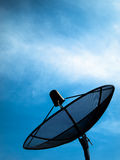 Black Satellite. Information signals are sent to space Royalty Free Stock Image