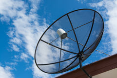 Black satellite. Antenna on the roof Stock Photo