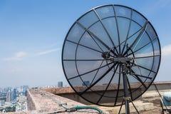 Black satellite dish. Black antenna communication satellite dish Stock Image