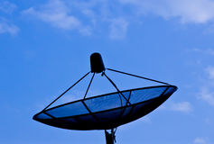 Black satellite dish and blue sky Royalty Free Stock Images