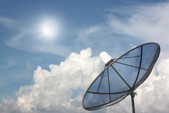 Black Satellite dish. Royalty Free Stock Photo