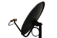 Black Satellite Dish on white background Stock Image