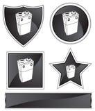 Black Satin - 9V Battery. Set of 3D black chrome icons - 9V battery Stock Photography