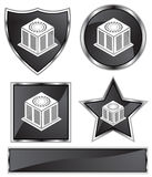 Black Satin - Air Conditioner Units. Set of 3D black chrome icons - air conditioning unit Royalty Free Stock Photos