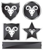 Black Satin - Aries. Set of black chrome icons - Aries Stock Photo