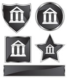 Black Satin - Bank. Set of 3D black chrome icons - financial building Stock Photography