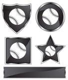 Black Satin - Baseball. Set of 3D black chrome icons - baseball Stock Photos