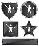 Black Satin - Baseball Player. Set of 3D black chrome icons - baseball player Stock Images