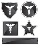 Black Satin - Caduceus. Set of 3D black chrome icons - caduceus Stock Image