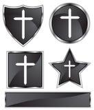 Black Satin - Cross. Set of 3D black chrome icons - cross Royalty Free Stock Image