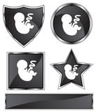 Black Satin - Fetus. Set of 3D black chrome icons - fetus Royalty Free Stock Photography