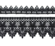 Black satin lace. Black satin lace, isolate on white background Stock Images