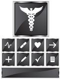 Black Satin - Medical Icons - Square. Set of 9 3D black chrome medical icons - square style Royalty Free Stock Photos