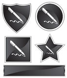 Black Satin - Pen. Set of 3D black chrome icons - pen Royalty Free Stock Image