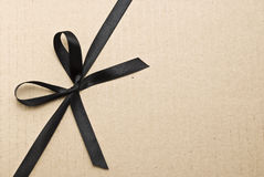Black satin ribbon and bow Stock Photos
