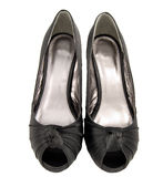 Black satin shoes. Isolated on white Royalty Free Stock Photo
