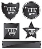 Black Satin - Shopping Cart. Set of 3D black chrome icons - shopping cart Stock Photography