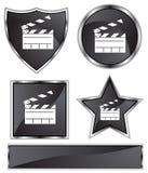 Black Satin - Slate Clapboard. Set of 3D black chrome icons - movie slate clapboard Stock Photography