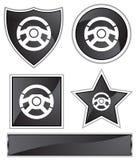 Black Satin - Steering Wheel. Set of 3D black chrome icons - steering wheel Stock Photography