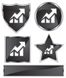 Black Satin - Stocks Up. Set of 3D black chrome icons - stocks going up Royalty Free Stock Images