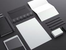 Black sationery elements. On dark background vector illustration