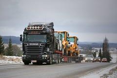 Black Scania Semi Trailer Heavy Transport on the Road Stock Photo