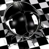 Black Scarab. Shiny black scarab on a checkered floor Vector Illustration