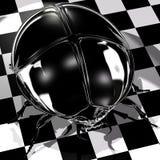 Black Scarab. Shiny black scarab on a checkered floor vector illustration