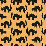 Black scared cats Animal seamless  pattern of cat silhouettes for halloween Stock Photo