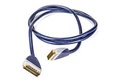 Black scart cable for television and satellite. Black scart cable for television and satellite Royalty Free Stock Images