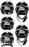 Black scary human skull with canine tattoo set. A vector illustration of Black scary graphic human skull with canine tooth tattoo set stock illustration