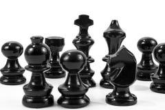 Black schackstycken Royaltyfri Foto