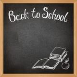 Black school blackboard with chalk-drawn school objects. Vector Royalty Free Stock Photo