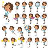 Black school girl 2. Set of various poses of Black school girl 2 Royalty Free Stock Images