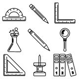 Black school goods black ink icons. Part 3. Set of black ink icons with stationery and school goods for use in logo or web design. Can be used for back to school Stock Image