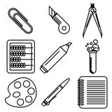 Black school goods black ink icons. Part 2. Set of black ink icons with stationery and school goods for use in logo or web design. Can be used for back to school Stock Photo