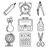 Black school goods black ink icons. Part 1. Set of black ink icons with stationery and school goods for use in logo or web design. Can be used for back to school Stock Photos