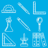 Black school goods chalk icons. Part 3 Royalty Free Stock Photo