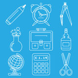 Black school goods chalk icons. Part 1 Royalty Free Stock Photos