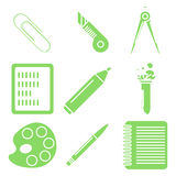 Black school goods, green linear icons. Part 2. Set of green linear icons with stationery and school goods. Can be used for back to school design and stationery Royalty Free Stock Photos