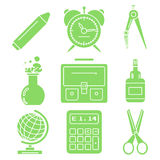 Black school goods, green linear icons. Part 1. Set of green linear icons with stationery and school goods for use in logo or web design. Can be used for back to Stock Photography