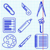 Black school goods icons. Part 2. Set of ink icons with stationery and school goods for use in logo or web design. like a ballpen ink drawing on exercise book Royalty Free Stock Photo
