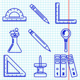 Black school goods icons. Part 3. Set of ink icons with stationery and school goods for use in logo or web design. like a ballpen ink drawing on exercise book Royalty Free Stock Photography