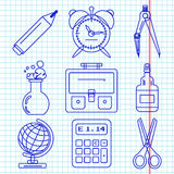Black school goods icons. Part 1. Set of ink icons with stationery and school goods for use in logo or web design. like a ballpen ink drawing on exercise book Stock Image