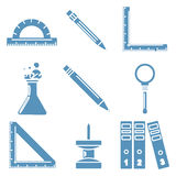 Black school goods, light blue linear icons. Part Stock Image